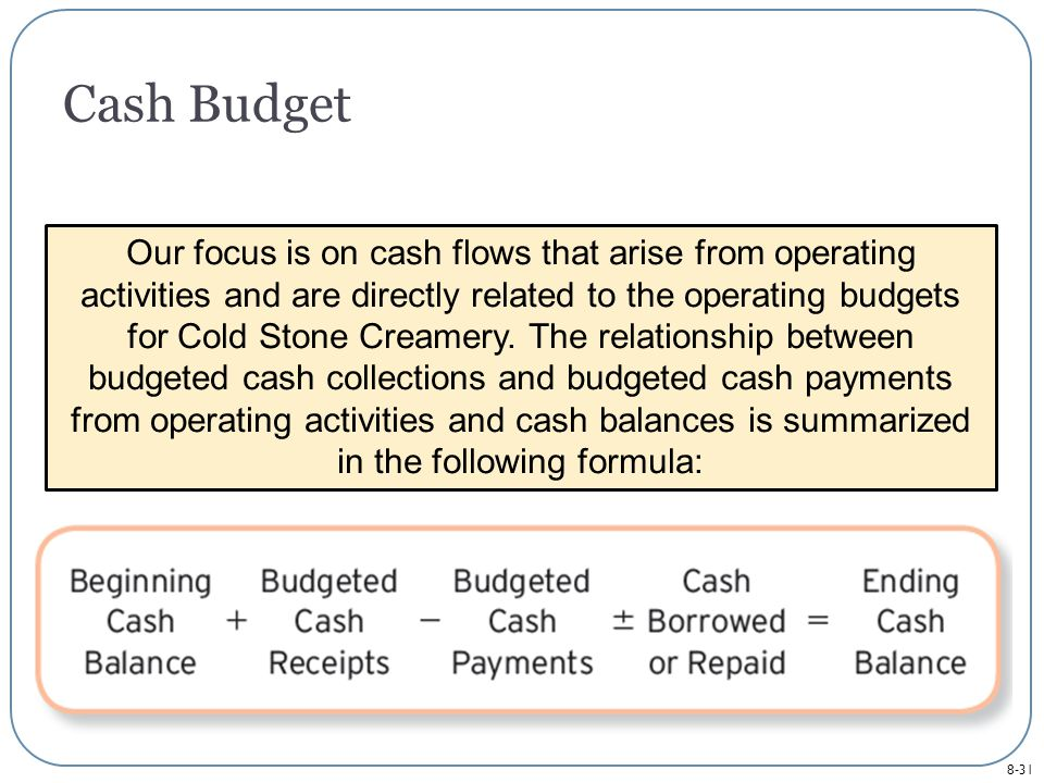 8-31 Cash Budget Our focus is on cash flows that arise from operating activities and are directly related to the operating budgets for Cold Stone Creamery.