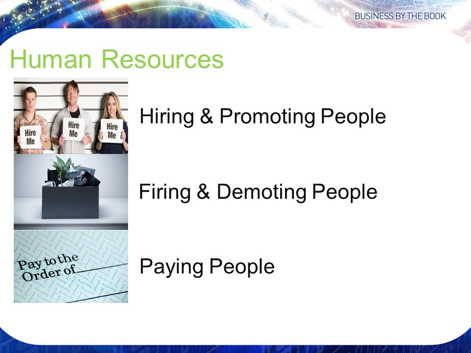 Human Resources Hiring & Promoting People Firing & Demoting People Paying People
