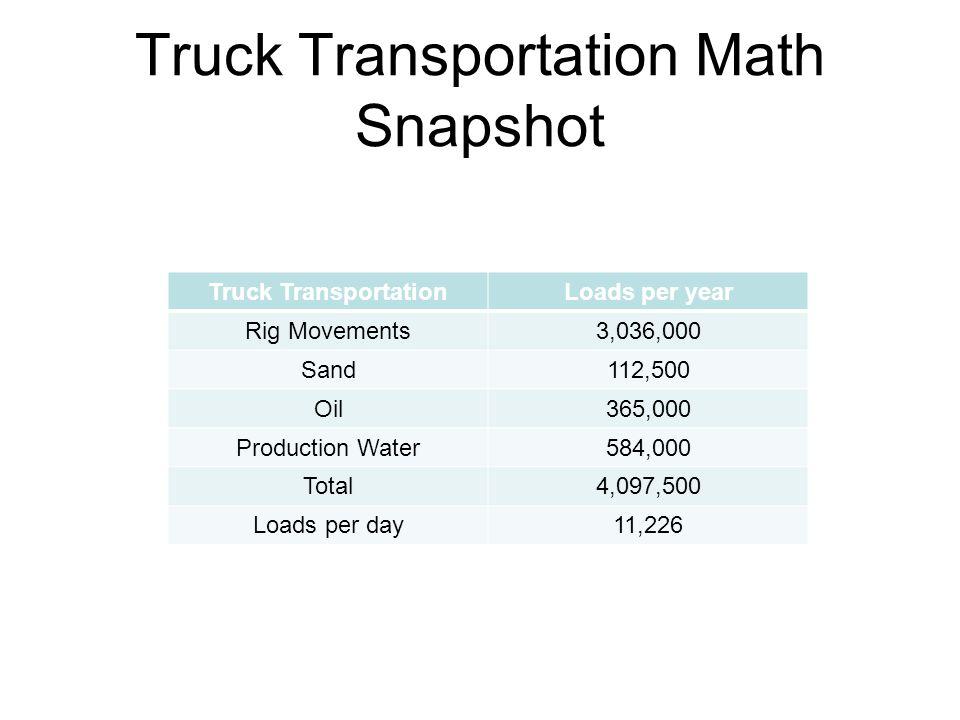 Truck Transportation Math Snapshot Truck TransportationLoads per year Rig Movements3,036,000 Sand112,500 Oil365,000 Production Water584,000 Total4,097