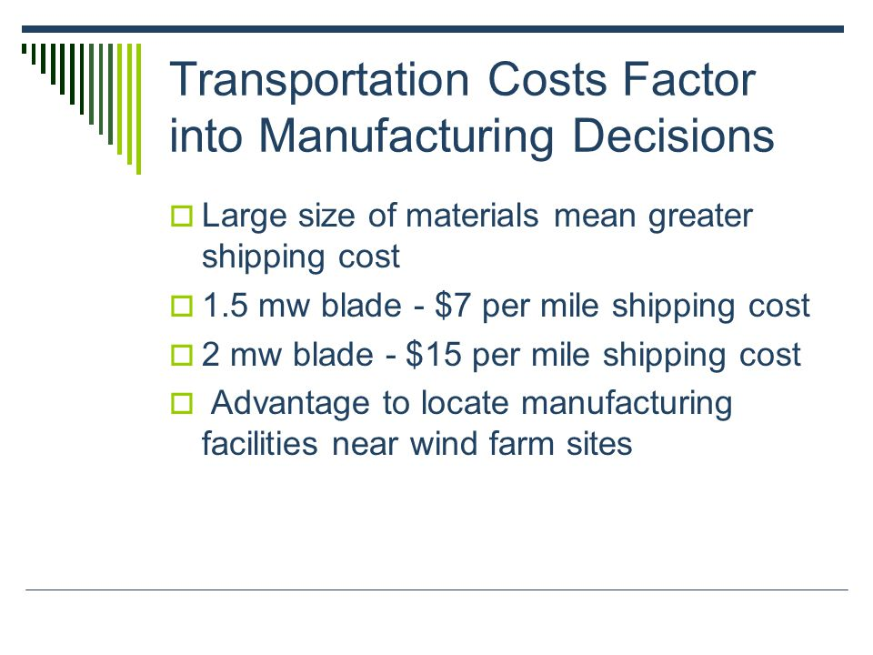 Transportation Costs Factor into Manufacturing Decisions  Large size of materials mean greater shipping cost  1.5 mw blade - $7 per mile shipping cost  2 mw blade - $15 per mile shipping cost  Advantage to locate manufacturing facilities near wind farm sites
