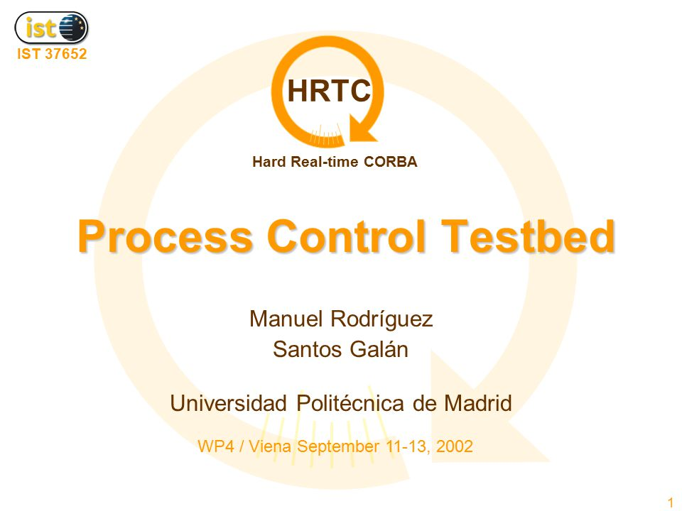 HRTC IST 37652 Hard Real-time CORBA WP4 / Viena September 11-13, 200222 Process Control Testbed  The HRTC Contract composability in heterogeneous process control applications