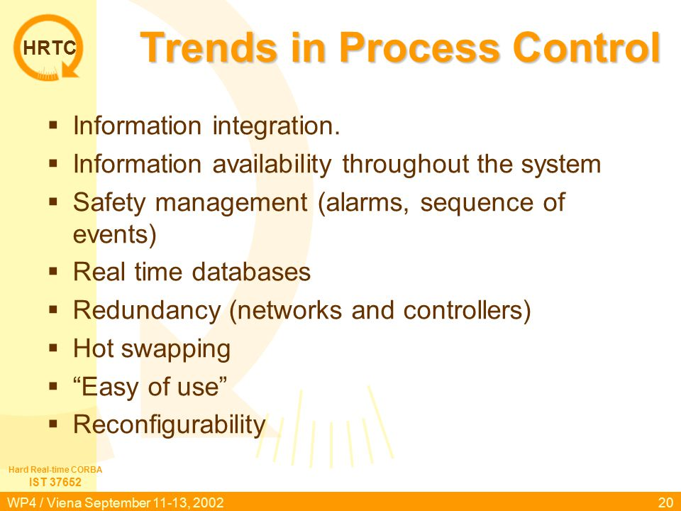 HRTC IST 37652 Hard Real-time CORBA WP4 / Viena September 11-13, 200220 Trends in Process Control  Information integration.
