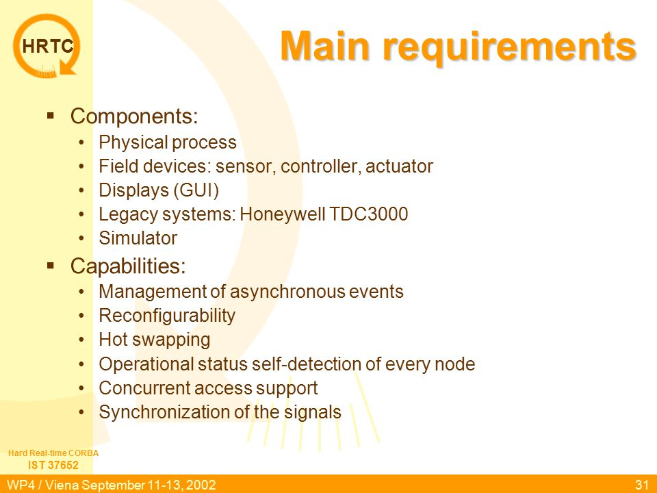HRTC IST 37652 Hard Real-time CORBA WP4 / Viena September 11-13, 200231 Main requirements  Components: Physical process Field devices: sensor, controller, actuator Displays (GUI) Legacy systems: Honeywell TDC3000 Simulator  Capabilities: Management of asynchronous events Reconfigurability Hot swapping Operational status self-detection of every node Concurrent access support Synchronization of the signals