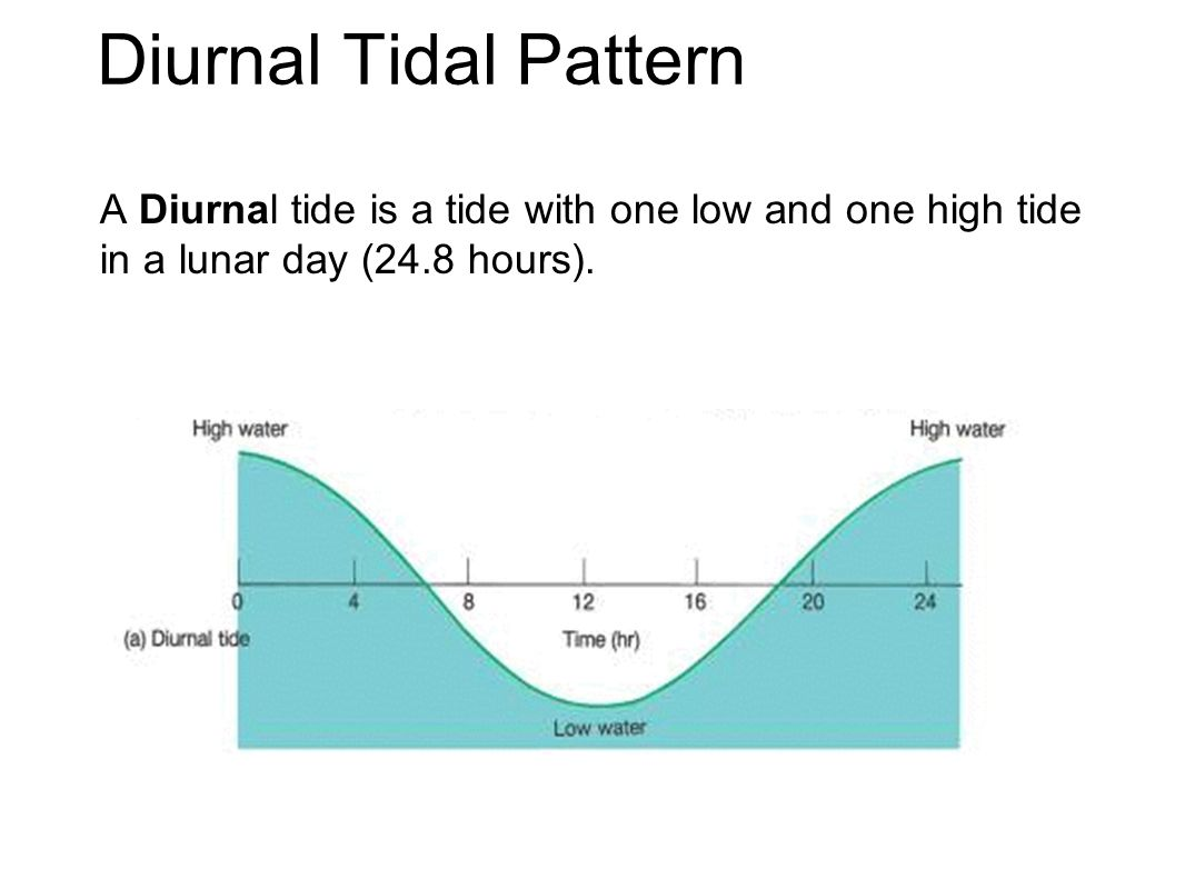 Diurnal Tidal Pattern A Diurnal tide is a tide with one low and one high tide in a lunar day (24.8 hours).