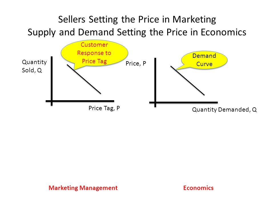 Sellers Setting the Price in Marketing Supply and Demand Setting the Price in Economics Marketing ManagementEconomics Price, P Quantity Demanded, Q Demand Curve Quantity Sold, Q Price Tag, P Customer Response to Price Tag