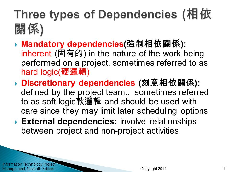 Copyright 2014 Information Technology Project Management, Seventh Edition  Mandatory dependencies( 強制 相依關係 ): inherent ( 固有的 ) in the nature of the work being performed on a project, sometimes referred to as hard logic( 硬邏輯 )  Discretionary dependencies ( 刻意 相依 關係 ): defined by the project team., sometimes referred to as soft logic 軟邏輯 and should be used with care since they may limit later scheduling options  External dependencies: involve relationships between project and non-project activities 12