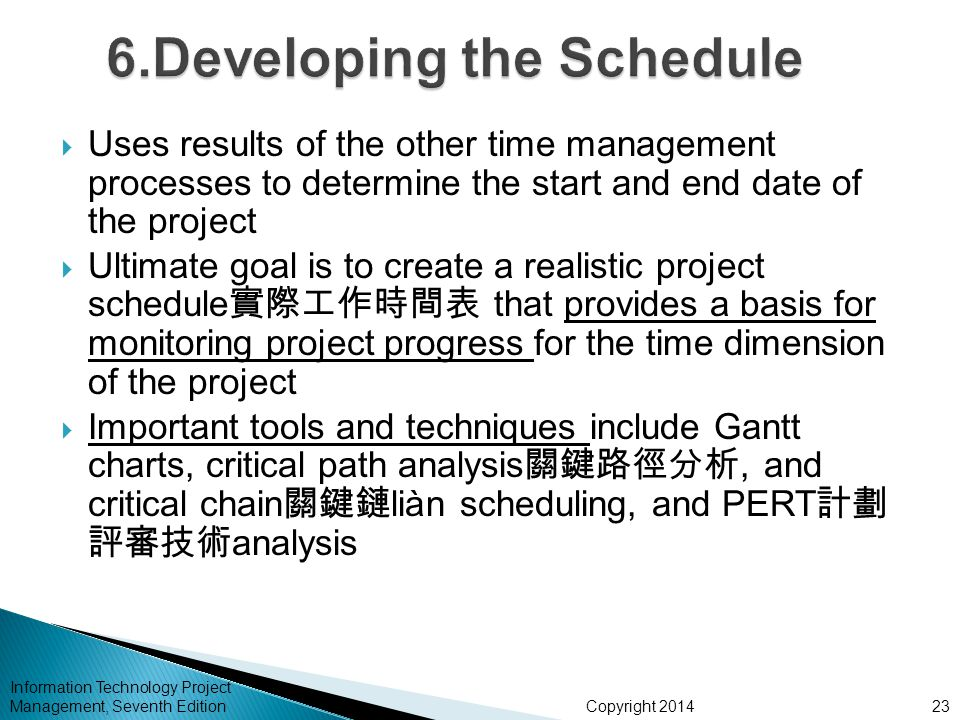Copyright 2014 Information Technology Project Management, Seventh Edition  Uses results of the other time management processes to determine the start and end date of the project  Ultimate goal is to create a realistic project schedule 實際工作時間表 that provides a basis for monitoring project progress for the time dimension of the project  Important tools and techniques include Gantt charts, critical path analysis 關鍵路徑分析, and critical chain 關鍵鏈 liàn scheduling, and PERT 計劃 評審技術 analysis 23
