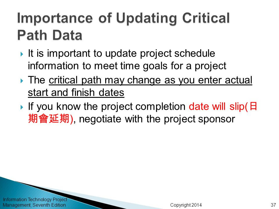 Copyright 2014 Information Technology Project Management, Seventh Edition  It is important to update project schedule information to meet time goals