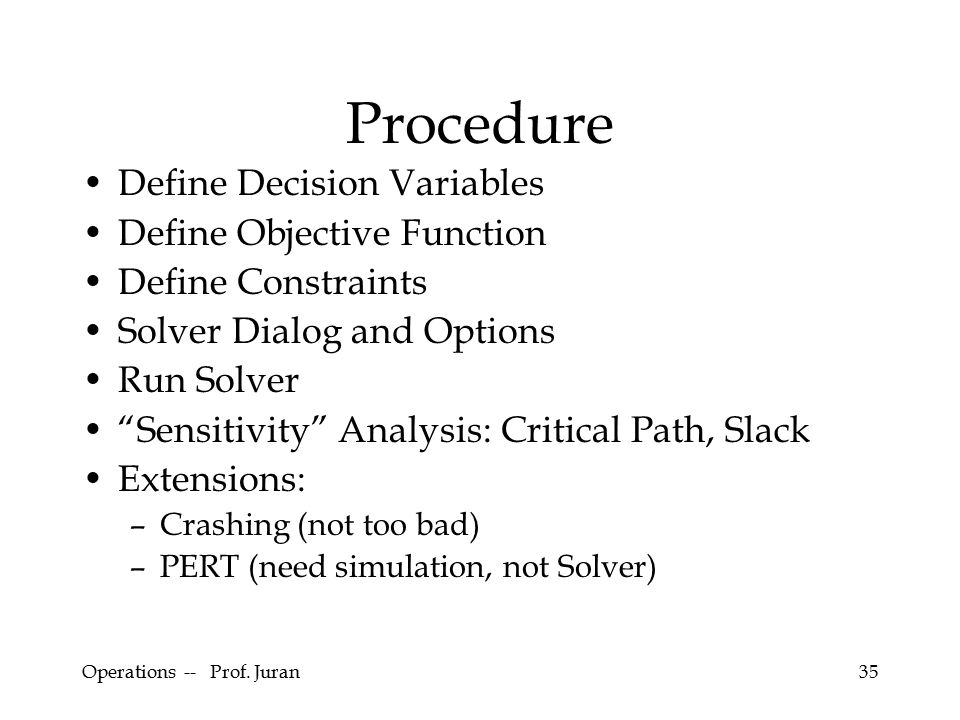"Operations -- Prof. Juran35 Procedure Define Decision Variables Define Objective Function Define Constraints Solver Dialog and Options Run Solver ""Sen"