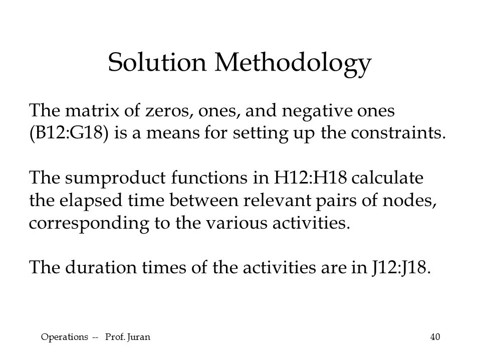 Operations -- Prof. Juran40 Solution Methodology The matrix of zeros, ones, and negative ones (B12:G18) is a means for setting up the constraints. The