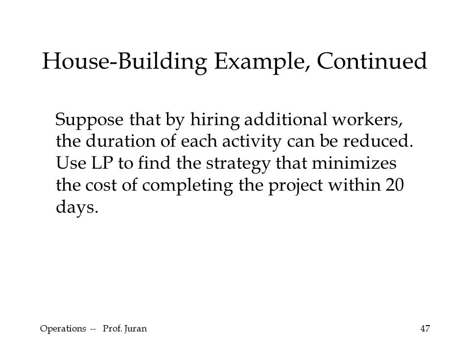 Operations -- Prof. Juran47 House-Building Example, Continued Suppose that by hiring additional workers, the duration of each activity can be reduced.
