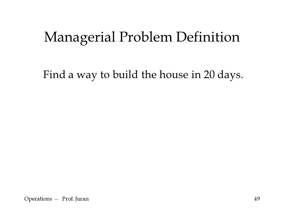Operations -- Prof. Juran49 Managerial Problem Definition Find a way to build the house in 20 days.