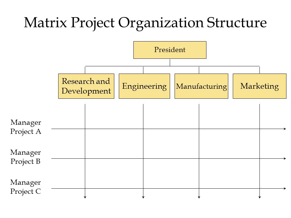 Matrix Project Organization Structure President Research and Development Engineering Manufacturing Marketing Manager Project A Manager Project B Manager Project C