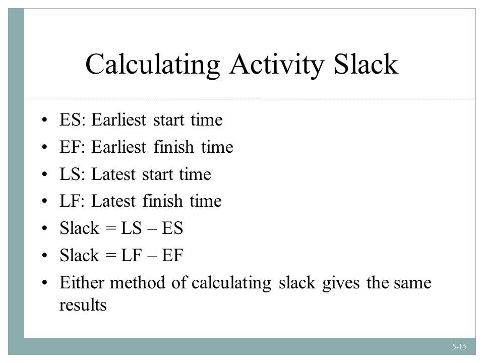 5-15 Calculating Activity Slack ES: Earliest start time EF: Earliest finish time LS: Latest start time LF: Latest finish time Slack = LS – ES Slack = LF – EF Either method of calculating slack gives the same results