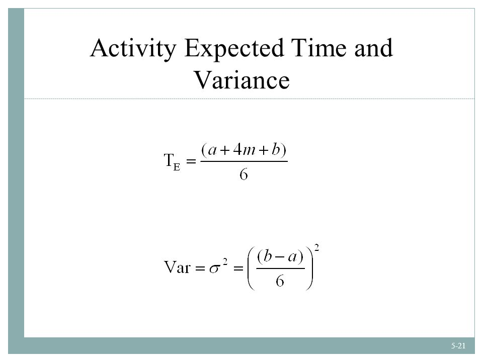 5-21 Activity Expected Time and Variance