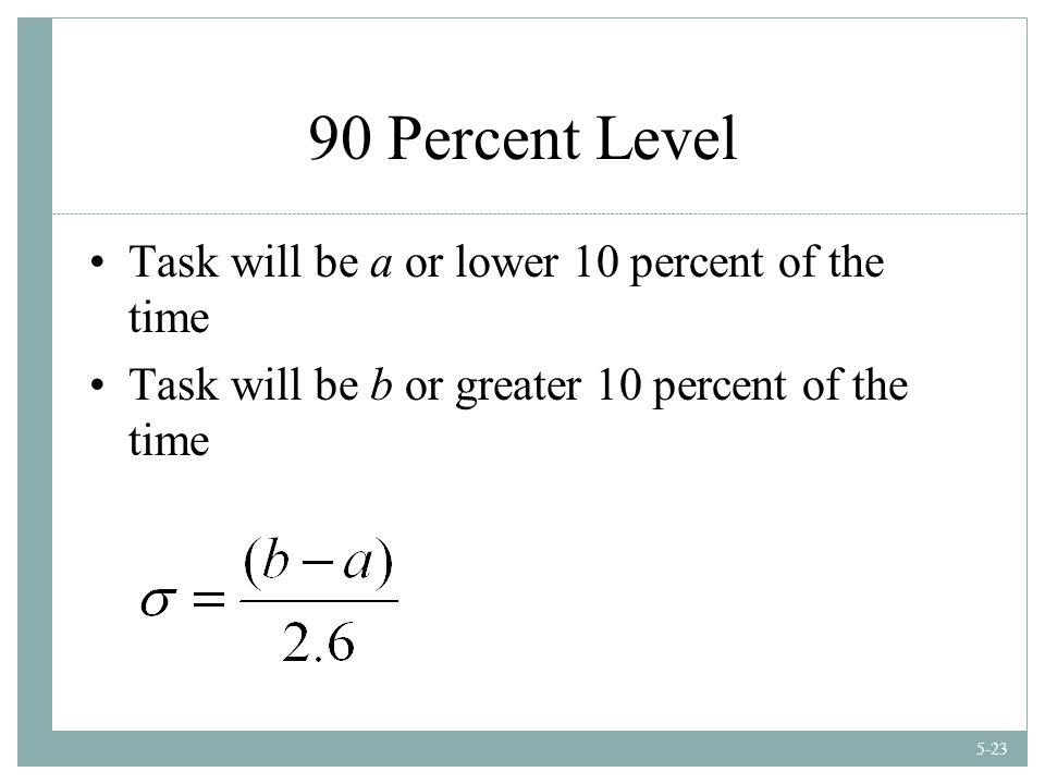 5-23 90 Percent Level Task will be a or lower 10 percent of the time Task will be b or greater 10 percent of the time