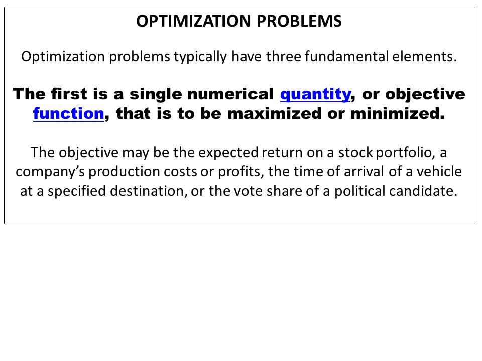 MULTI-MODAL OPTIMIZATION Optimization problems are often multi-modal; that is they possess multiple good solutions.