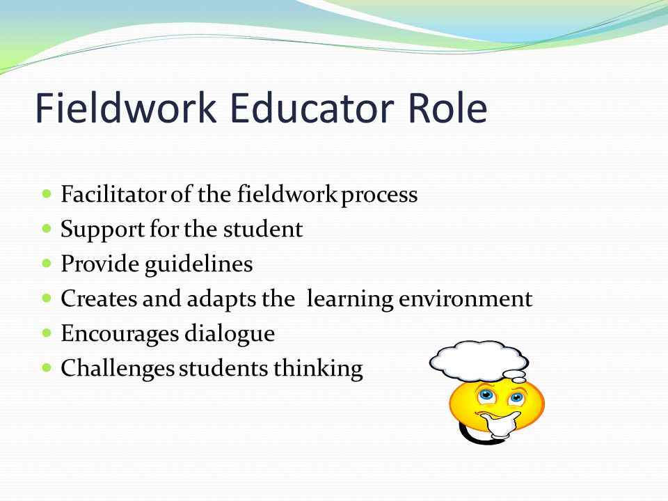 Fieldwork Educator Role Facilitator of the fieldwork process Support for the student Provide guidelines Creates and adapts the learning environment En