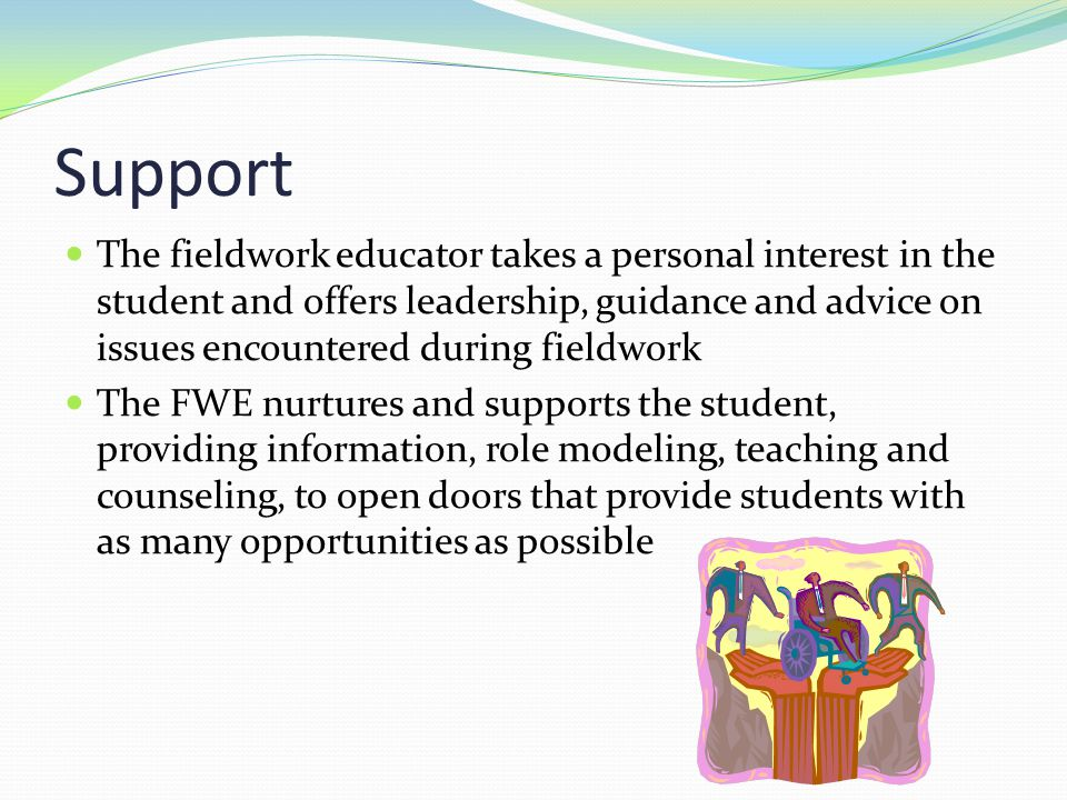 Support The fieldwork educator takes a personal interest in the student and offers leadership, guidance and advice on issues encountered during fieldw