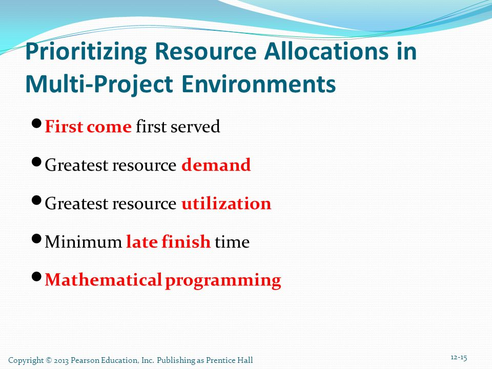 Copyright © 2013 Pearson Education, Inc. Publishing as Prentice Hall Prioritizing Resource Allocations in Multi-Project Environments First come first