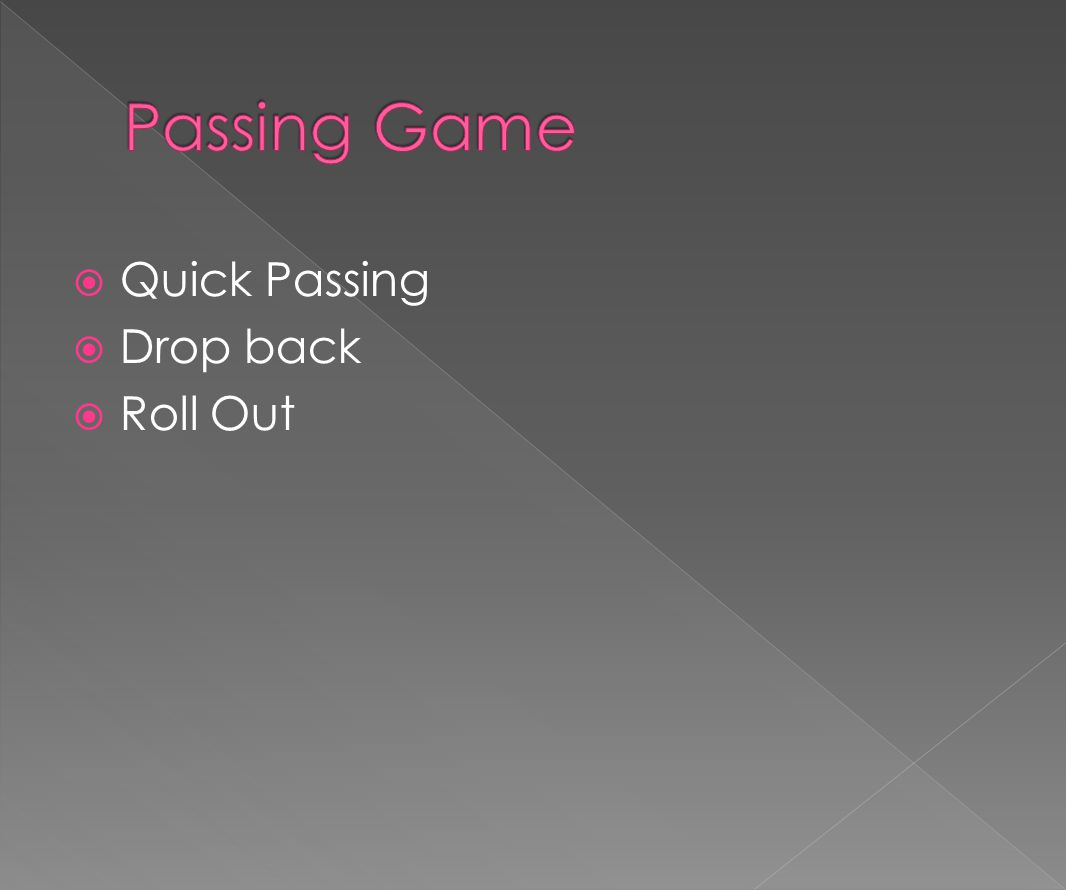  Quick Passing  Drop back  Roll Out