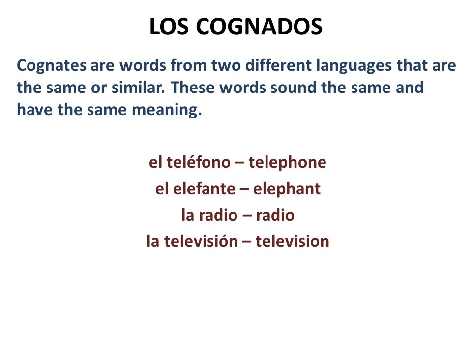 LOS COGNADOS Cognates are words from two different languages that are the same or similar. These words sound the same and have the same meaning. el te