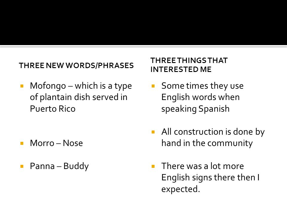 THREE NEW WORDS/PHRASES  Mofongo – which is a type of plantain dish served in Puerto Rico  Morro – Nose  Panna – Buddy THREE THINGS THAT INTERESTED