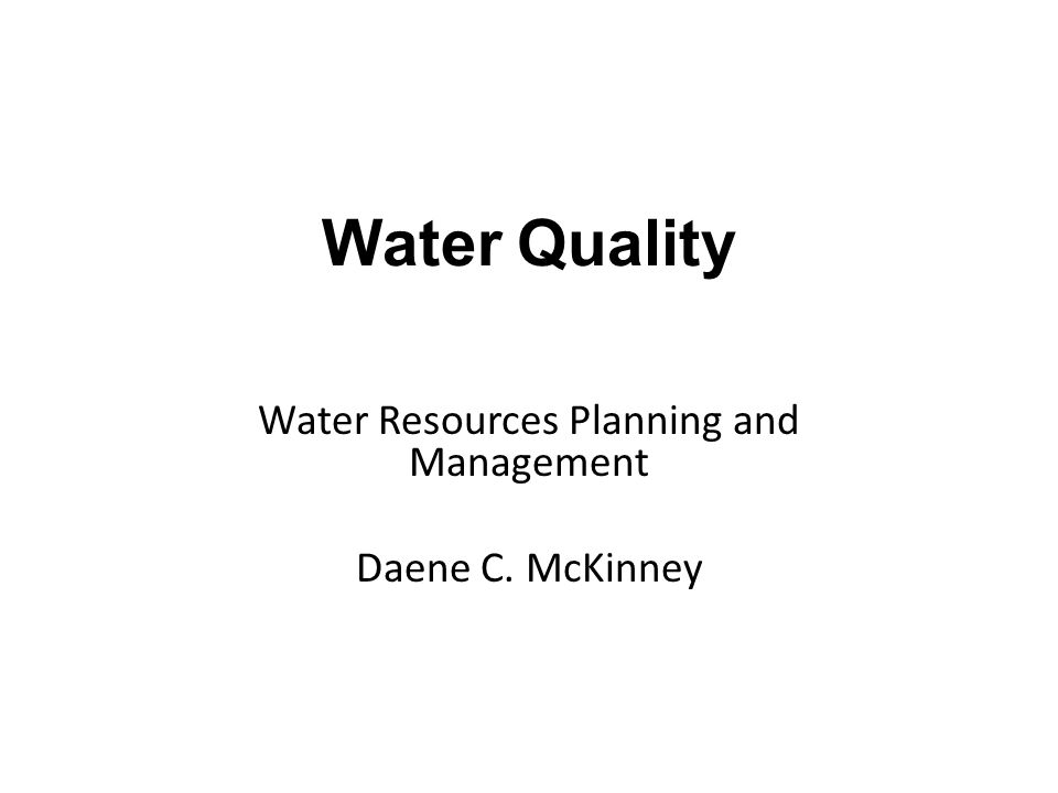 Water Quality Example