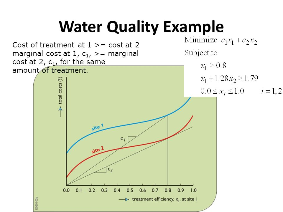 Water Quality Example Cost of treatment at 1 >= cost at 2 marginal cost at 1, c 1, >= marginal cost at 2, c 1, for the same amount of treatment.