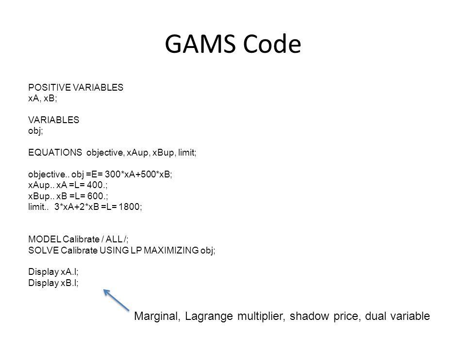 GAMS Code POSITIVE VARIABLES xA, xB; VARIABLES obj; EQUATIONS objective, xAup, xBup, limit; objective.. obj =E= 300*xA+500*xB; xAup.. xA =L= 400.; xBu