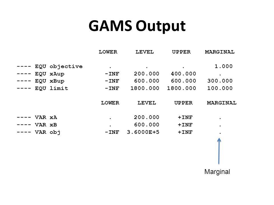 GAMS Output LOWER LEVEL UPPER MARGINAL ---- EQU objective...