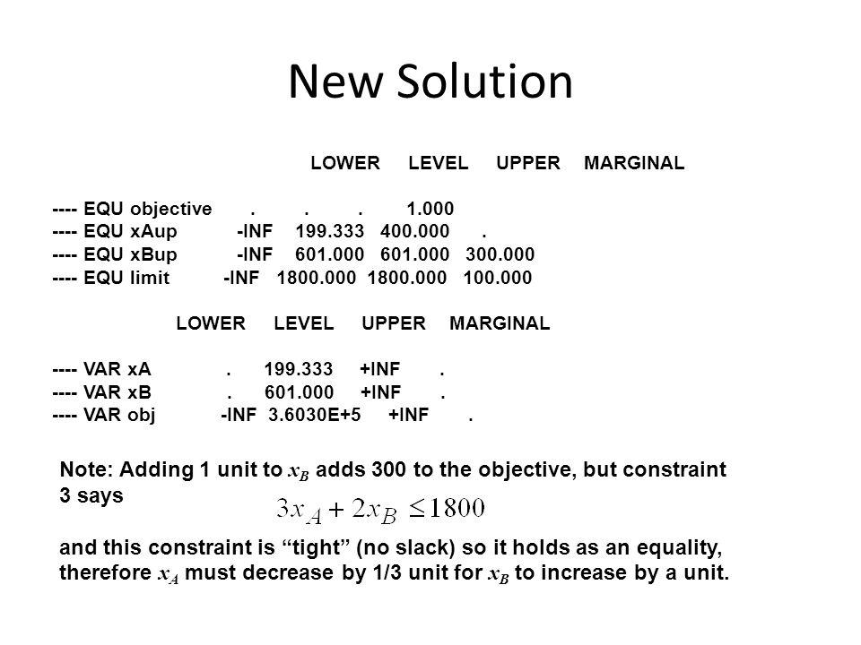 New Solution LOWER LEVEL UPPER MARGINAL ---- EQU objective...