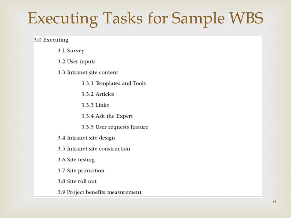  54 Executing Tasks for Sample WBS