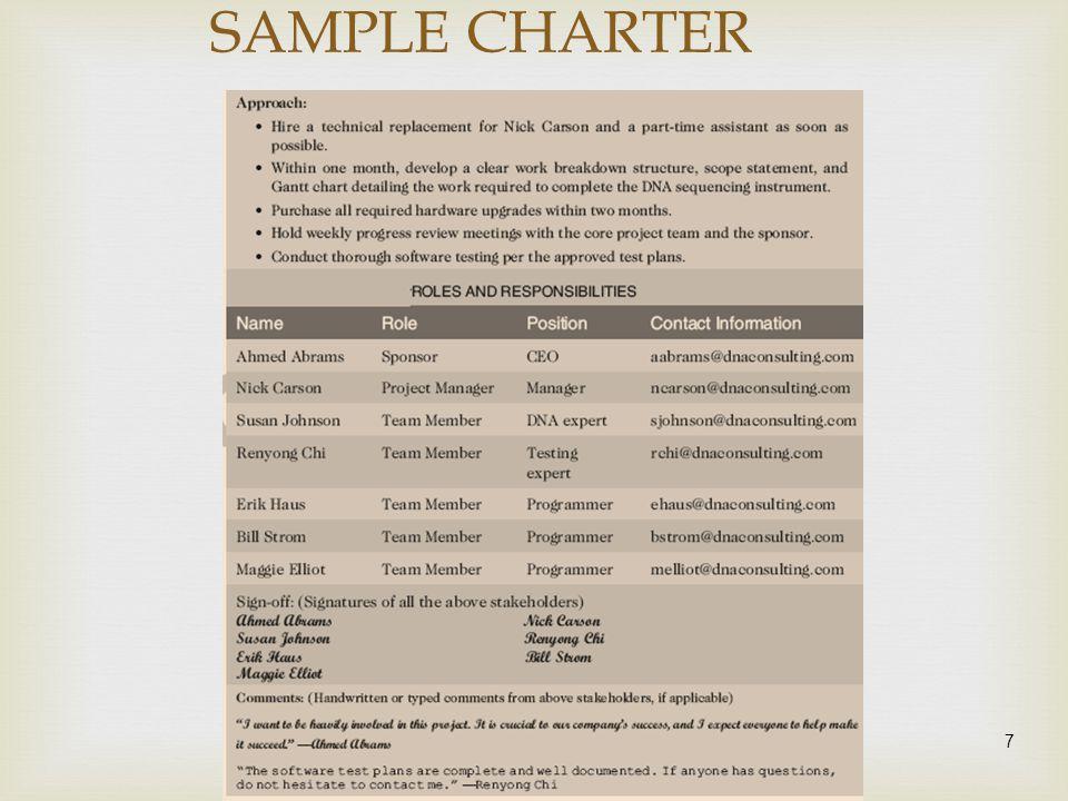 7 SAMPLE CHARTER