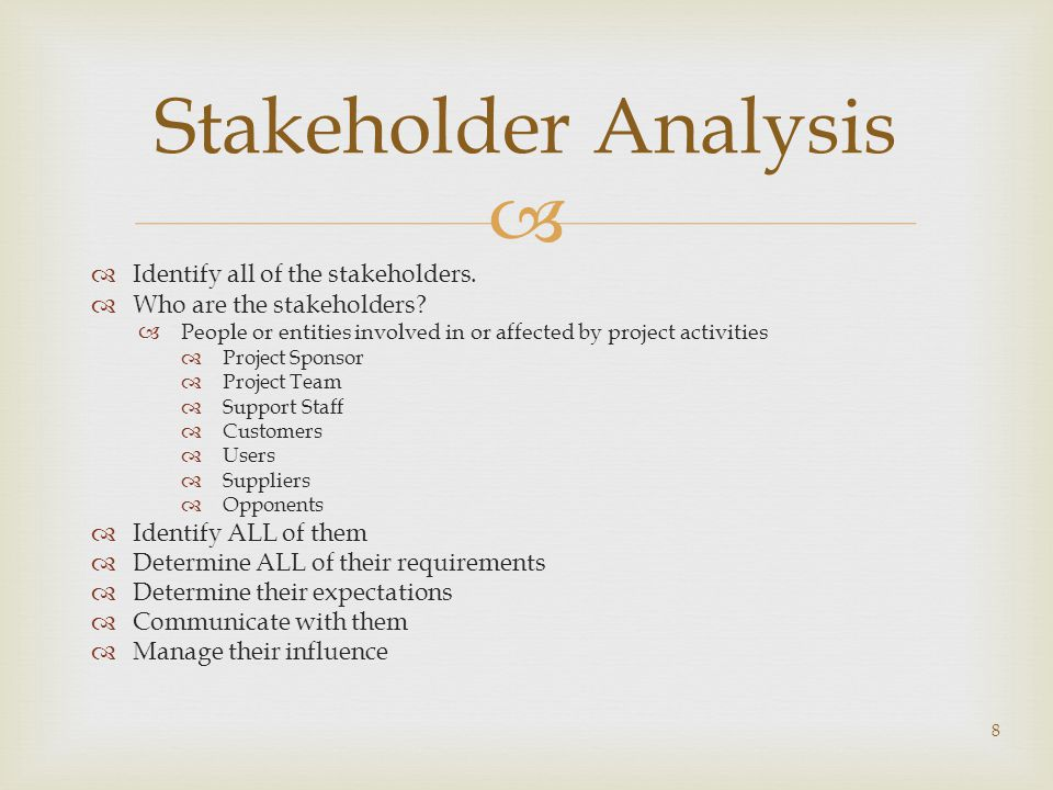  Stakeholder Analysis  Identify all of the stakeholders.