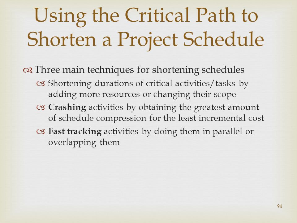 94 Using the Critical Path to Shorten a Project Schedule  Three main techniques for shortening schedules  Shortening durations of critical activities/tasks by adding more resources or changing their scope  Crashing activities by obtaining the greatest amount of schedule compression for the least incremental cost  Fast tracking activities by doing them in parallel or overlapping them