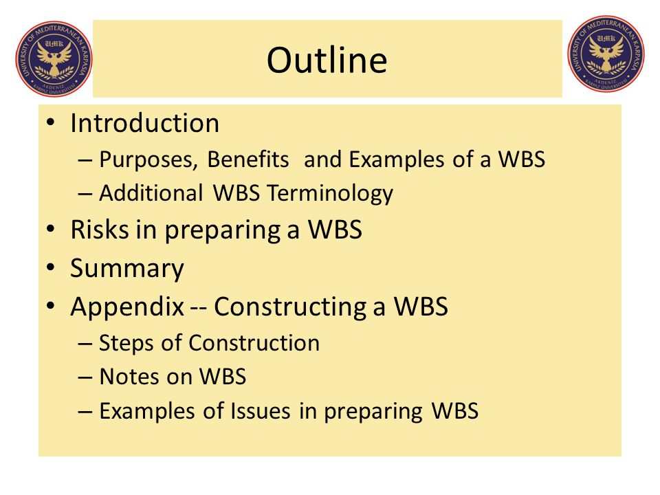 Outline Introduction – Purposes, Benefits and Examples of a WBS – Additional WBS Terminology Risks in preparing a WBS Summary Appendix -- Constructing