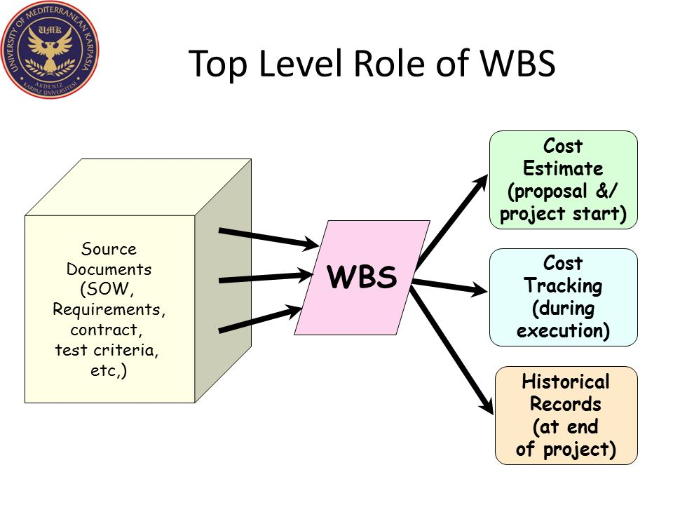 Top Level Role of WBS Historical Records (at end of project) Cost Estimate (proposal &/ project start) Cost Tracking (during execution) WBS Source Doc