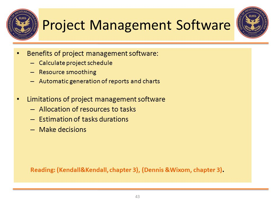 Project Management Software Benefits of project management software: – Calculate project schedule – Resource smoothing – Automatic generation of repor