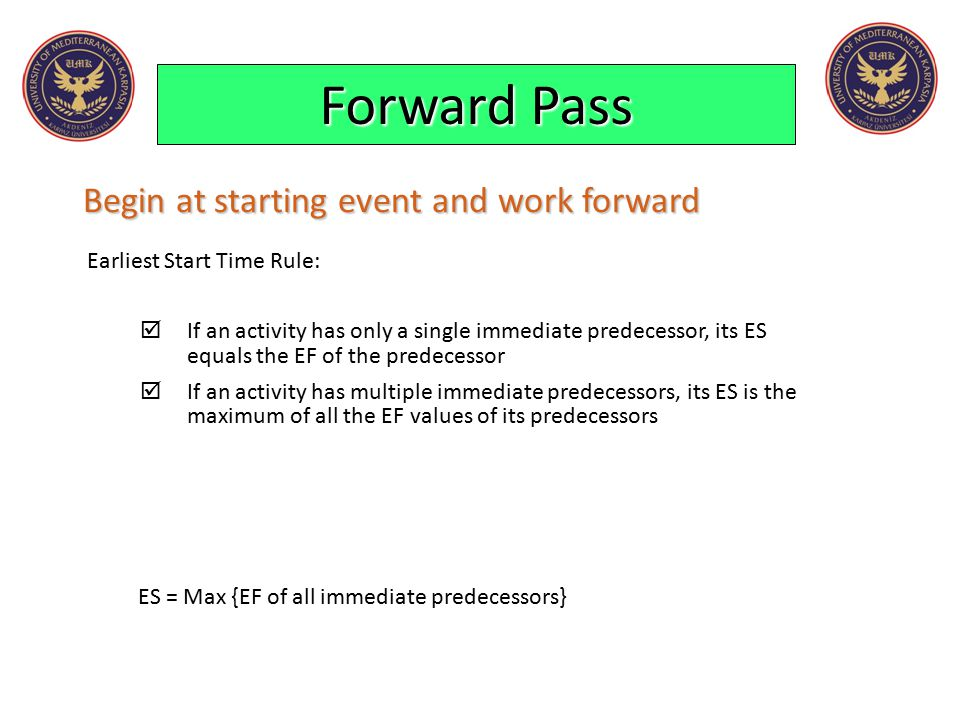Forward Pass Begin at starting event and work forward Earliest Start Time Rule:  If an activity has only a single immediate predecessor, its ES equal