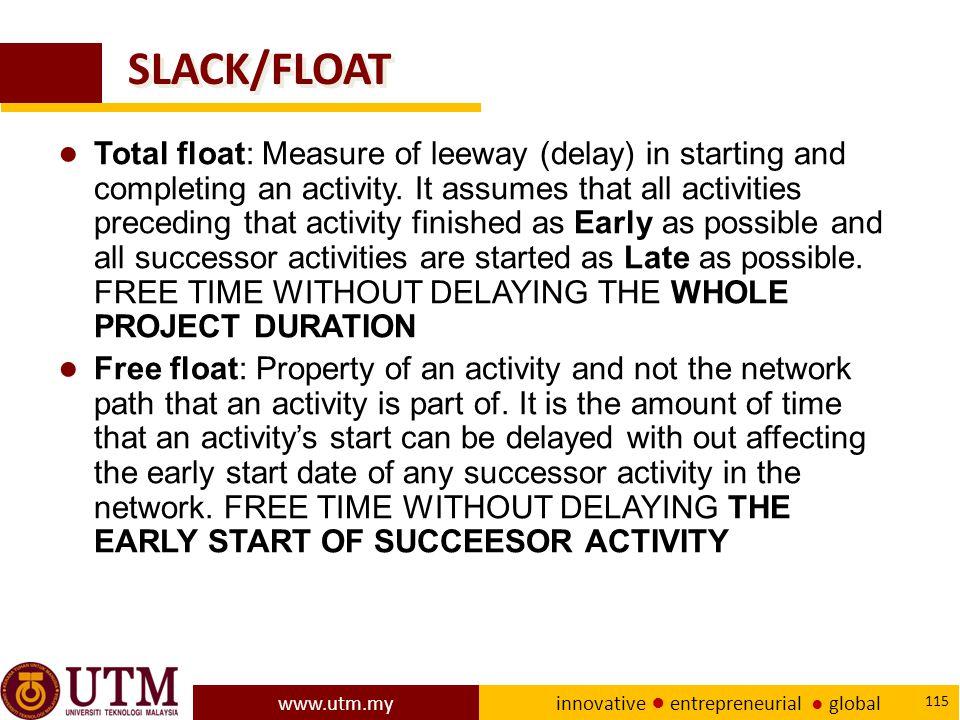 www.utm.my innovative ● entrepreneurial ● global 115 SLACK/FLOAT ● Total float: Measure of leeway (delay) in starting and completing an activity.