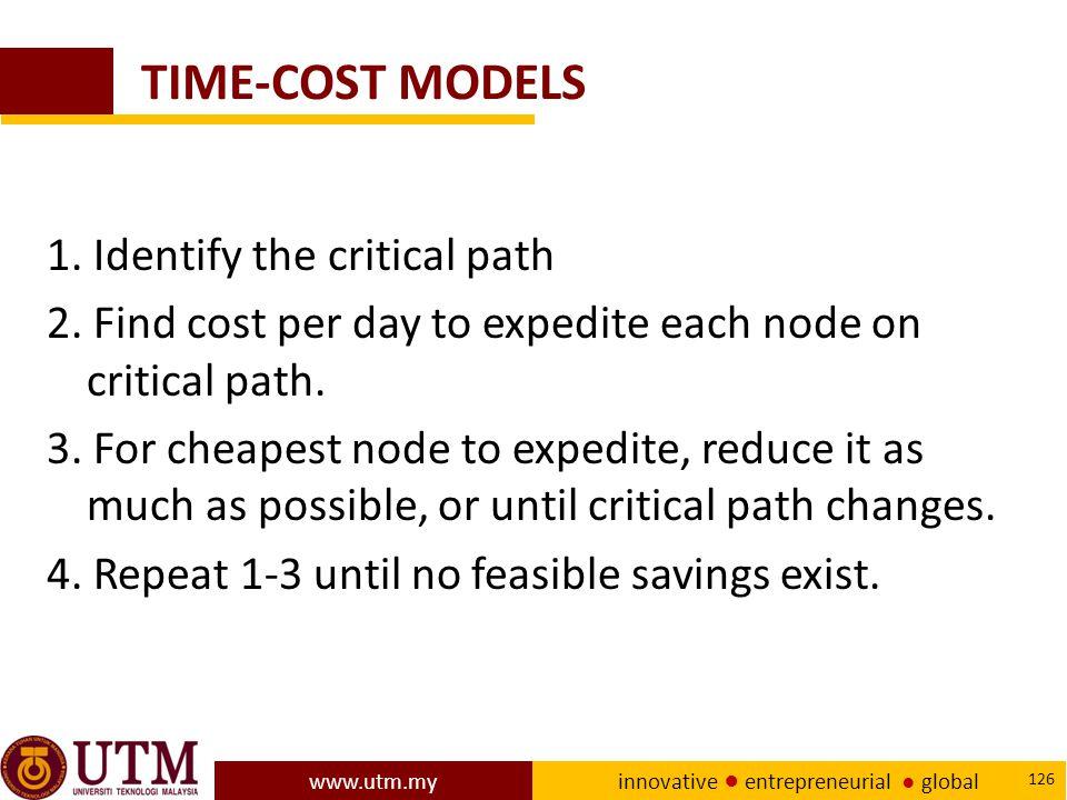 www.utm.my innovative ● entrepreneurial ● global 126 TIME-COST MODELS 1.
