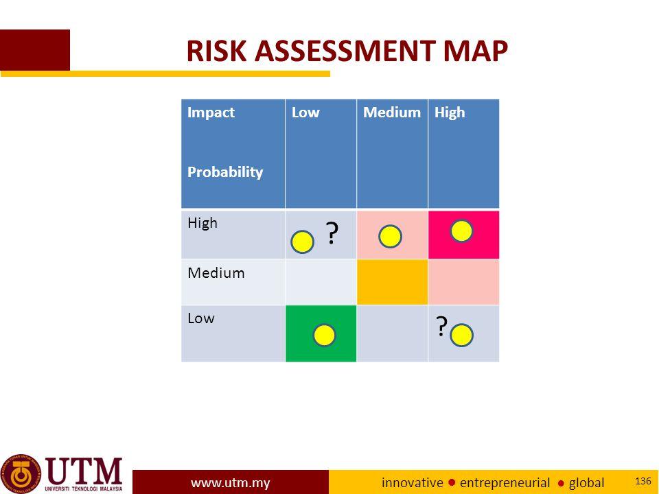 www.utm.my innovative ● entrepreneurial ● global 136 RISK ASSESSMENT MAP Impact Probability LowMediumHigh .