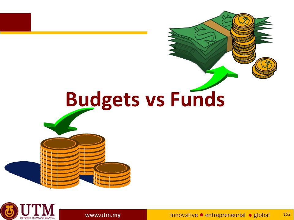 www.utm.my innovative ● entrepreneurial ● global 152 Budgets vs Funds