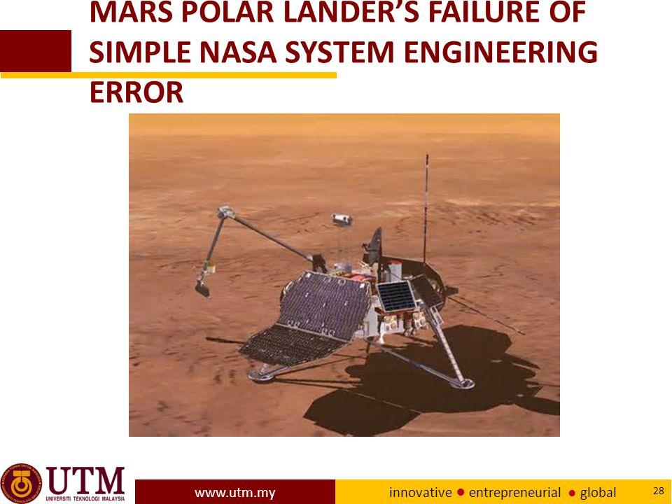 www.utm.my innovative ● entrepreneurial ● global 28 MARS POLAR LANDER'S FAILURE OF SIMPLE NASA SYSTEM ENGINEERING ERROR