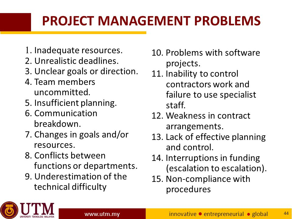 www.utm.my innovative ● entrepreneurial ● global 44 PROJECT MANAGEMENT PROBLEMS 1.
