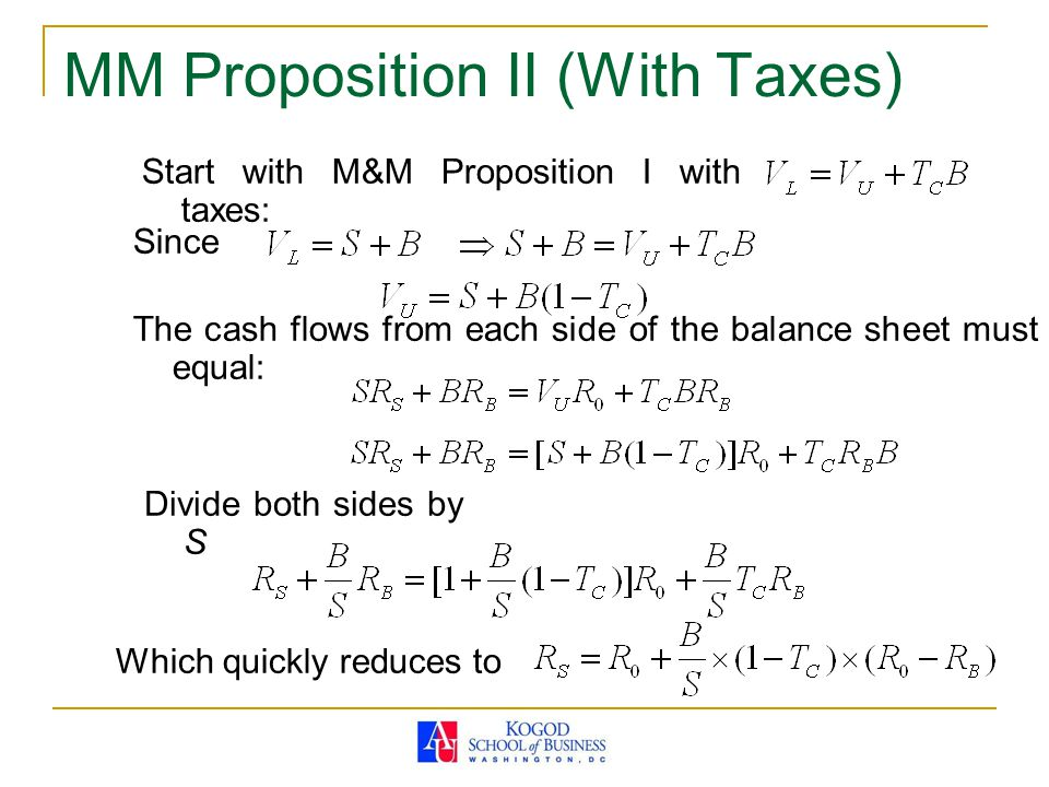 MM Proposition II (With Taxes) Start with M&M Proposition I with taxes: Since The cash flows from each side of the balance sheet must equal: Divide bo