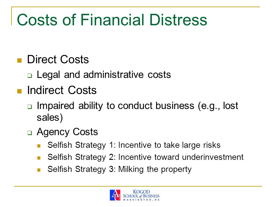 Costs of Financial Distress Direct Costs  Legal and administrative costs Indirect Costs  Impaired ability to conduct business (e.g., lost sales)  A