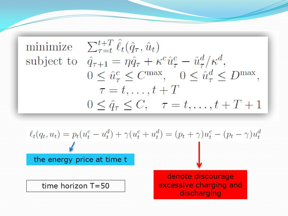 the energy price at time t denote discourage excessive charging and discharging time horizon T=50