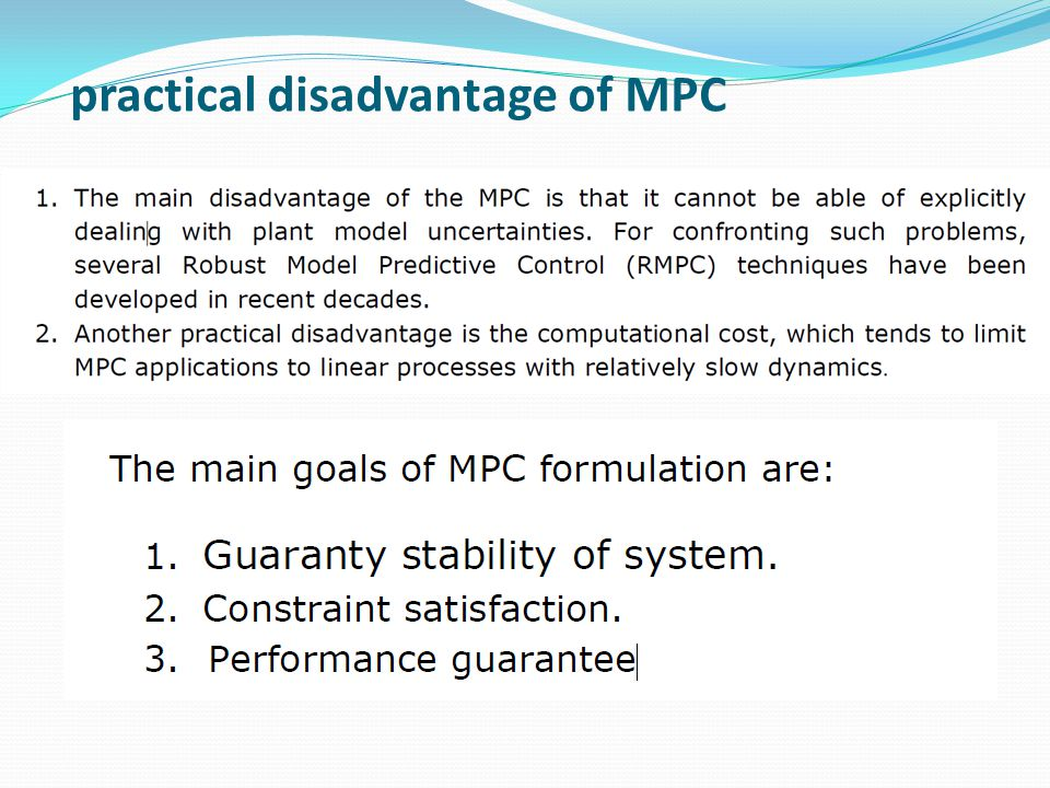 practical disadvantage of MPC